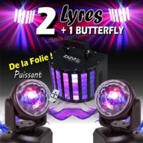 Ibiza Light - 3 jeux de lumiere puissants 2 lyre lmh + 1 butterfly derby pa dj sono mix bar club disco mobile soiree danse fitness