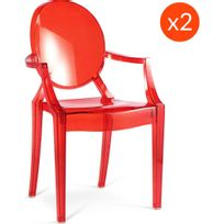 Privatefloor - Lot de 2 Fauteuils Louis Ghost Philippe S. Style Rouge transparent
