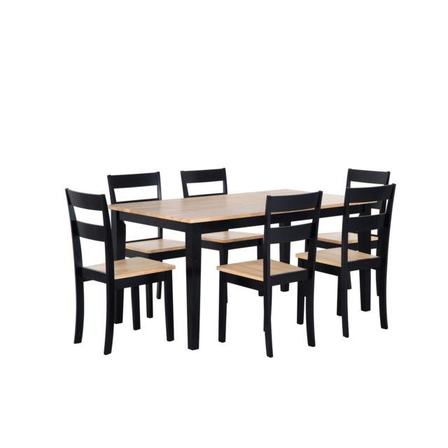 BELIANI Table 150 x 90 cm et 6 chaises en bois marron clair et noir GEORGIA