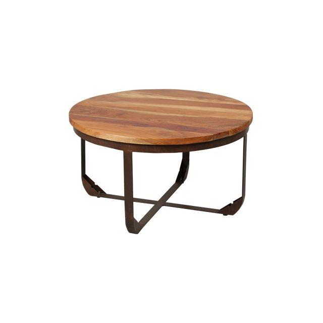 Table ronde structure métal plateau bois