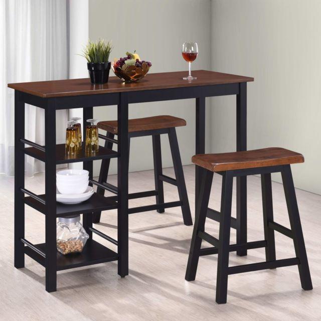 Vidaxl Bar 3 pcs Mdf Noir Mobilier Meubles de Bar Bistrot Chaises Table