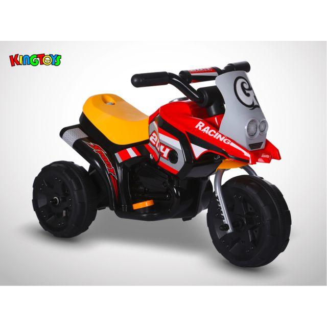 Kingtoys Moto électrique enfant - Sliper 18W - Rouge / Jaune