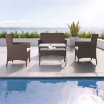 Ims Garden - Imora - Salon de jardin résine tressée - ensemble 4 places - Canapé + Fauteuil + Table - Marron/Ecru