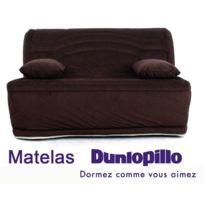RELAXIMA - Banquette lit accordéon BZ Chocolat Louna - Matelas mousse Dunlopillo
