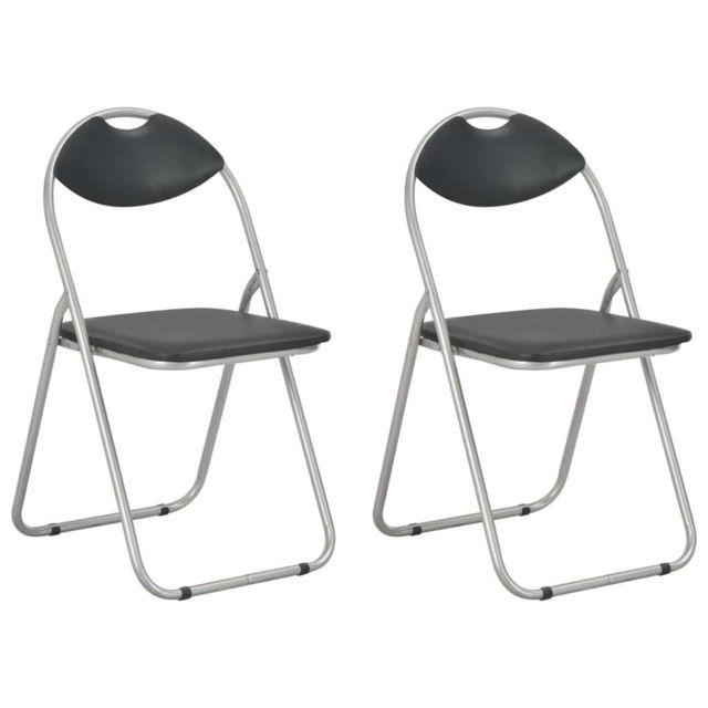 Chaises pliantes de salle à manger 2 pcs Noir Similicuir
