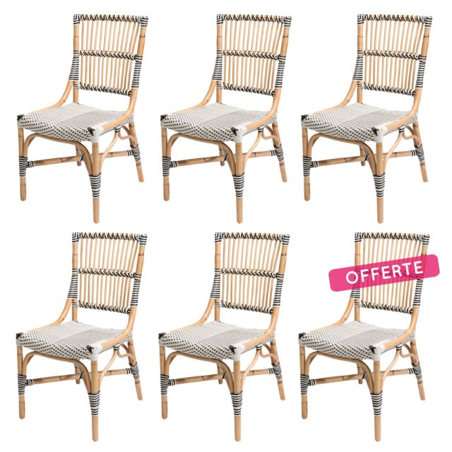 soldes rotin design soldes 36 lot de 6 chaises vigo en polyrotin blanche pas cher achat. Black Bedroom Furniture Sets. Home Design Ideas
