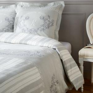 tex home parure rosemary housse de couette 2 taies d 39 oreiller en coton gris pas cher achat. Black Bedroom Furniture Sets. Home Design Ideas