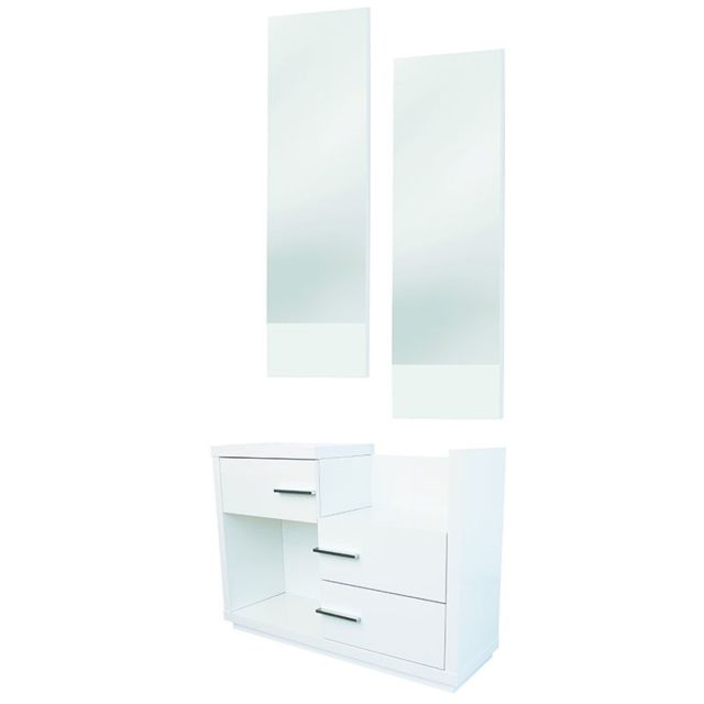 Nouvomeuble Meuble d'entrée blanc laqué design Matera 6