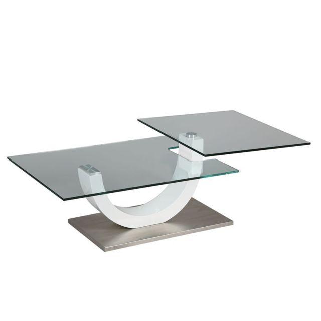 Tousmesmeubles Table basse en verre socle en métal - Evo
