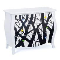 Comforium - Commode baroque 95 cm en bois massif avec 3 tiroirs coloris blanc et noir