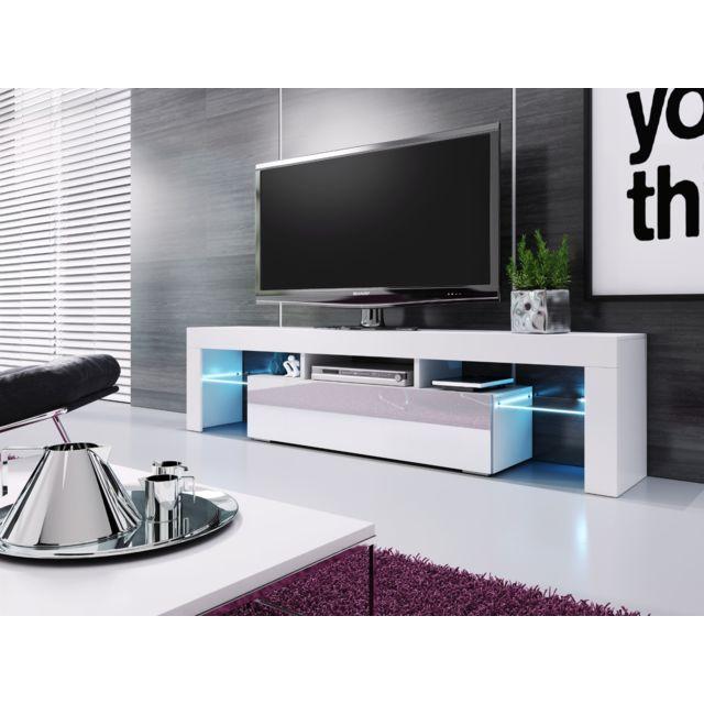 Baltic Meubles Banc Tv Blanc Laqué 1m90 Réf Vera Pas Cher