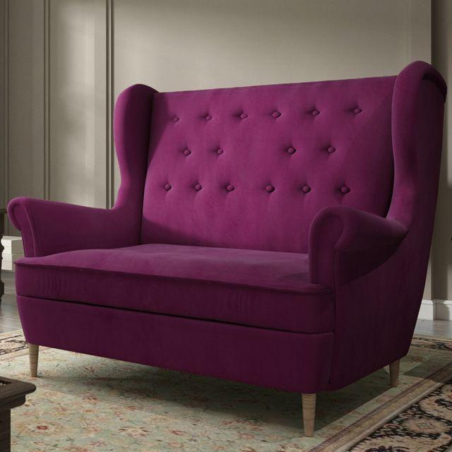 Nouvomeuble Canapé 2 places en tissu violet Ares