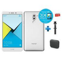 HONOR - 6X - Silver + Enceintes bluetooth M-312 Muse Noir + Carte Micro SDHC 32 Go EVO+ + Perche à Selfie filaire pour smartphone iOs et Android - Noire