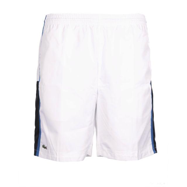 bb5ba1a375 Lacoste - Homme - Bermuda short de plage blanc Gh314T Btx - pas cher Achat  / Vente Short homme - RueDuCommerce