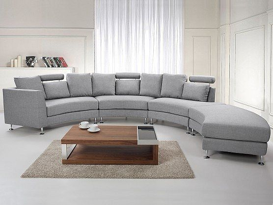 beliani canap d 39 angle canap en tissu gris clair sofa rotunde 190cm x 87cm x 80cm achat. Black Bedroom Furniture Sets. Home Design Ideas