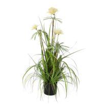 Mica - Plante artificielle fleur pompon blanc en pot noir Elliot