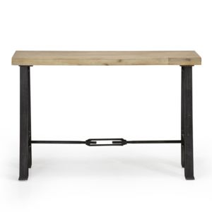alin a gustave console avec plateau en acacia massif et pieds en acier epoxy gris pas cher. Black Bedroom Furniture Sets. Home Design Ideas