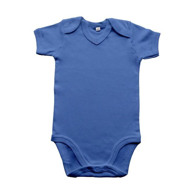 Babybugz - body bébé col V jambes manches courtes - Bz29 - bleu roi ... 230e872045b