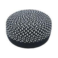 Nattiot - Pouf en coton ganissage polyester effet tressé noir et blanc 20x35x35cm Allen