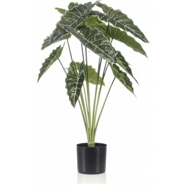 Emerald Alocasia artificiel en pot 80 cm