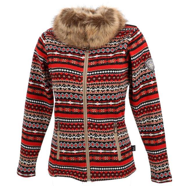 Eldera Sportswear Vestes polaire Cassis rouge polaire l Blanc 28194