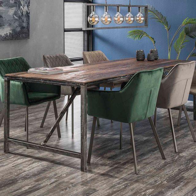 Nouvomeuble Table en bois et métal 240 cm industrielle Jacob
