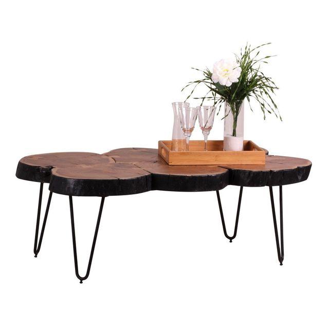 Comforium Table basse contemporaine 115x70 cm en acacia massif avec 4 pieds en métal