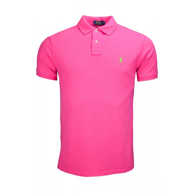 Polo rose custom fit 2 boutons pour homme