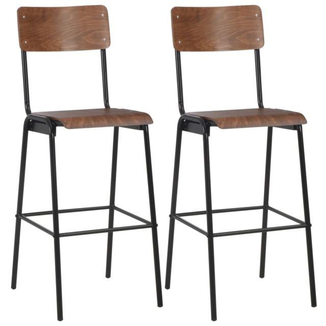 Moderne Fauteuils et chaises famille Oslo 2 pcs Chaises de bar Marron Contreplaqué solide et acier