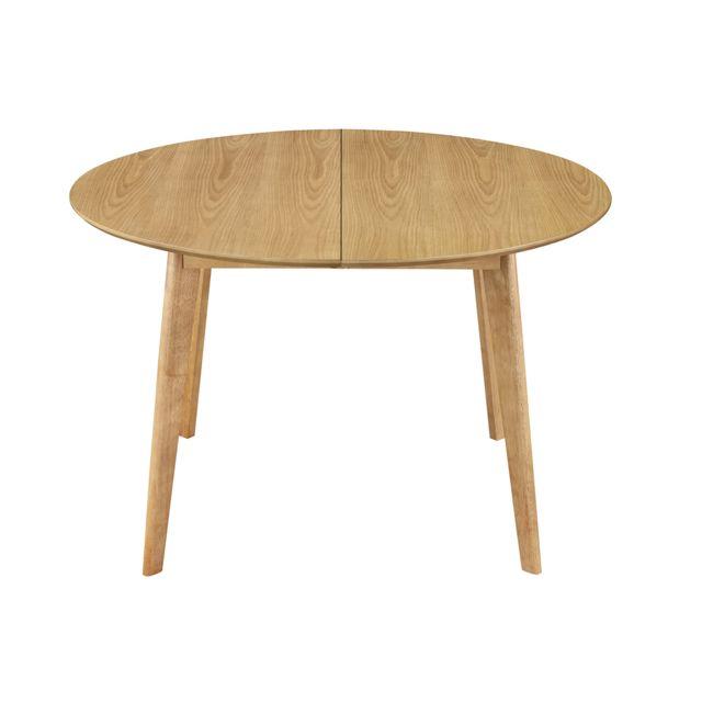 Table Ronde Extensible Suzie Chêne Clair: Table à Manger Design Ronde Extensible Chêne