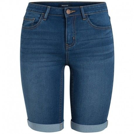 Pieces - Short Jean Five Betty Long Bleu Femme - pas cher Achat   Vente  Short femme - RueDuCommerce 5fca0d10a44