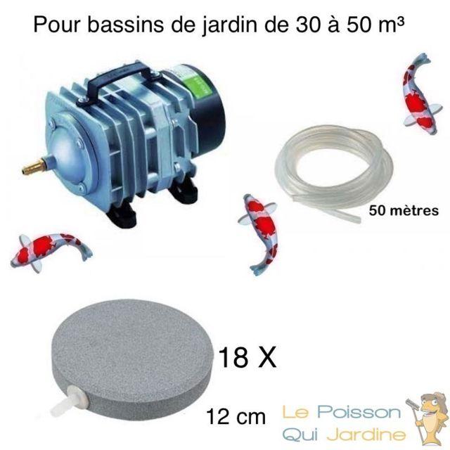 Le Poisson Qui Jardine Set aération bassin de jardin 18 disques 12 cm de 30000 à 50000 litres
