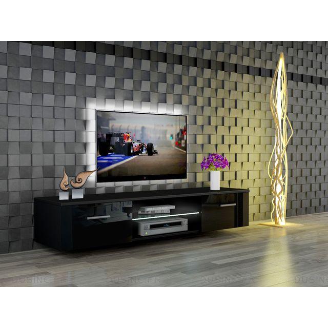 Dusine meuble led suspendu tv giuliano noir mat et portes noir laqu 160 cm pas cher achat - Meuble tv noir mat ...
