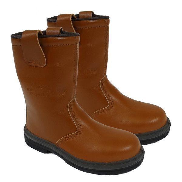 Meilleure vente qualité supérieure pas de taxe de vente Bottes de sécurité et travail cuir marron Paire fourrées Norme En345 Src S3  Taille - 38