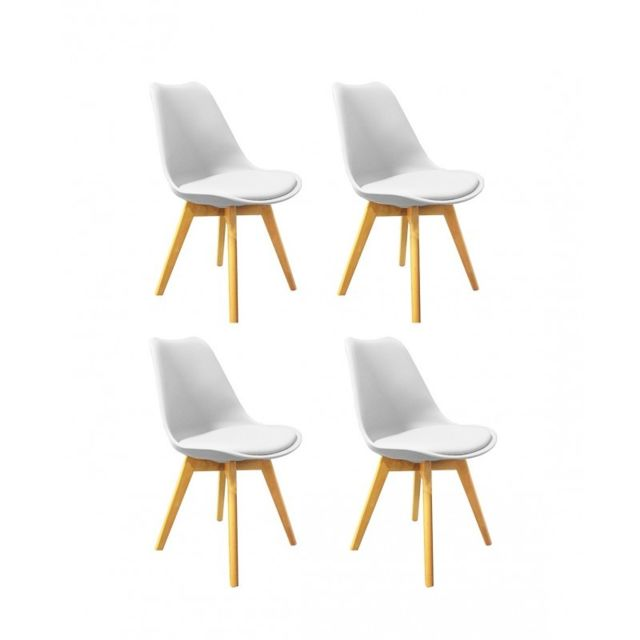 Meubletmoi Lot 4 chaises style scandinave assise blanche