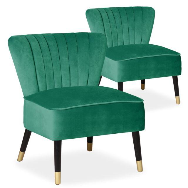 MENZZO Lot de 2 fauteuils Alma Velours Vert