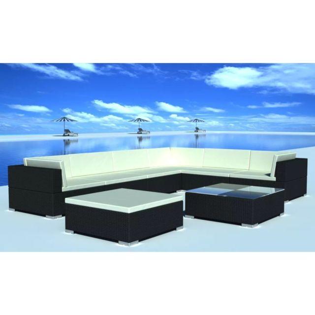 VIDAXL Jeu de meuble de jardin 24 pcs Noir Résine tressée | Noir