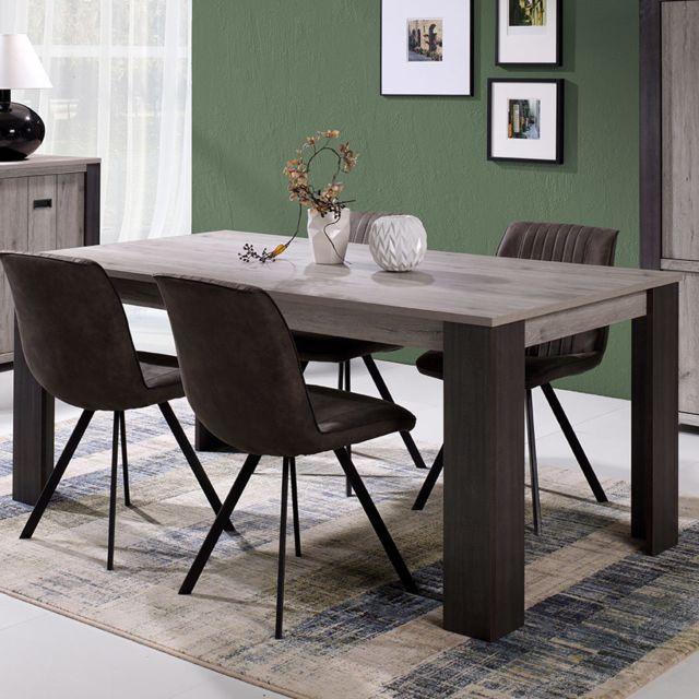 Sofamobili Table à manger 180 cm couleur chêne gris Adrien