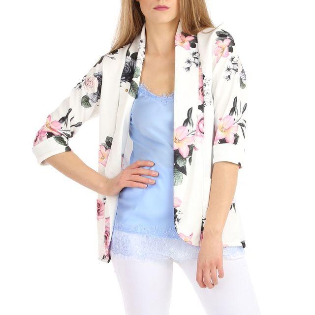 Lamodeuse - Veste blanche motifs fleuris - pas cher Achat   Vente ... 304910f9502e