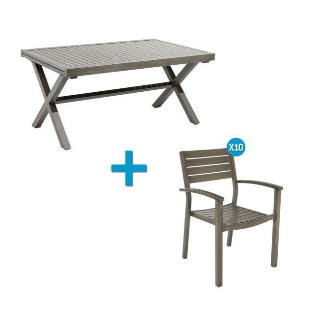 CARREFOUR - Ensemble 1 table et 10 fauteuils de jardin HONFLEUR ...