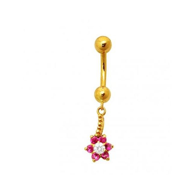 Sans Marque Bijou Pierre Précieuse Piercing De Nombril En Or Jaune Massif 18 carats Fleurs de Zircons Cz Rose Pendante