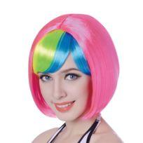 Perruque courte rose frange multicolore femme - 110g - taille - Taille  Unique - 230898 92f38f2cff9