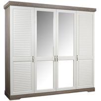 Comforium - Armoire contemporaine 4 portes 230 cm avec miroirs coloris truffe et porcelaine