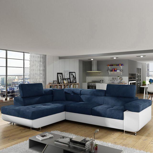 Sofamobili Canapé angle gauche convertible bleu et blanc Scott