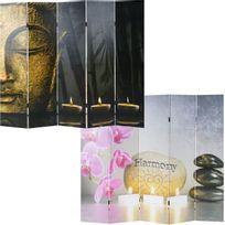 Mendler - Paravent / cloison de séparation, 5 pans ~ motif Bouddha 180x200cm