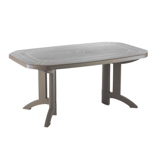Grosfillex - Table de jardin vega 165 x 100 x h 72 cm taupe - pas ...