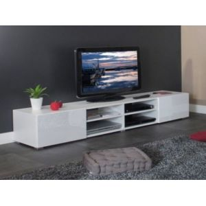 vente unique meuble tv 4 niches 2 tiroirs en bois l185xp42xh31cm glossy blanc pas cher achat. Black Bedroom Furniture Sets. Home Design Ideas