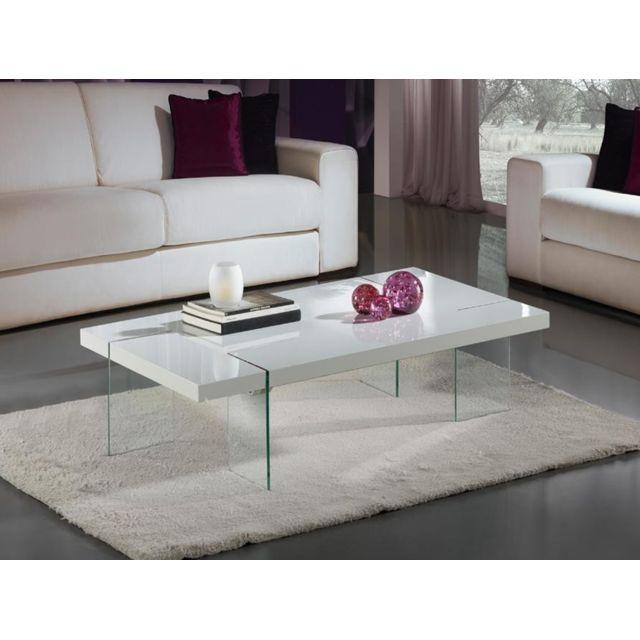 Zamagna Table Basse Design Laque Blanc Et Verre Trempe Brisa