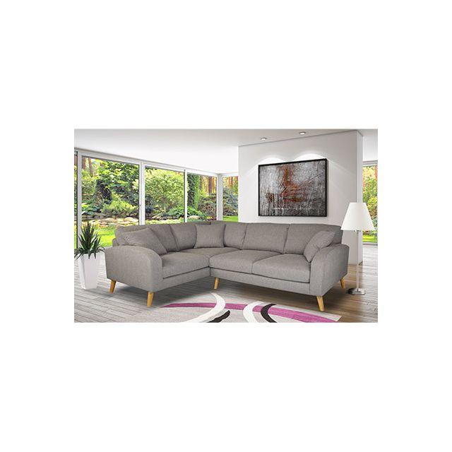 Canapé angle gauche en tissu gris - Asene