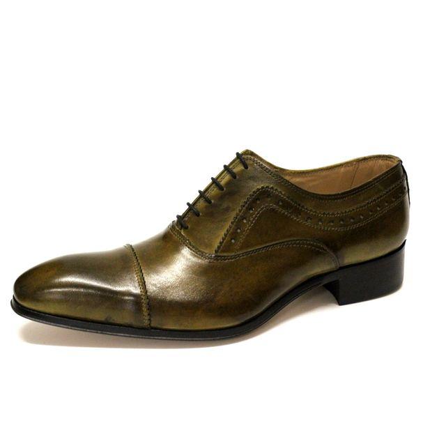 dd81848fb2c8f Crystal - Chaussure Homme Richelieu en Cuir Vert-Italie - pas cher ...